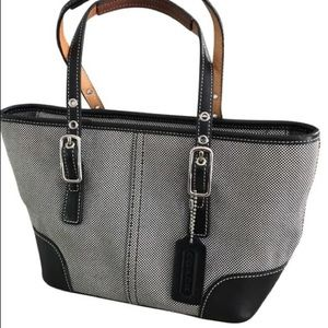 Coach Houndstooth Black Fabric Leather Satchel